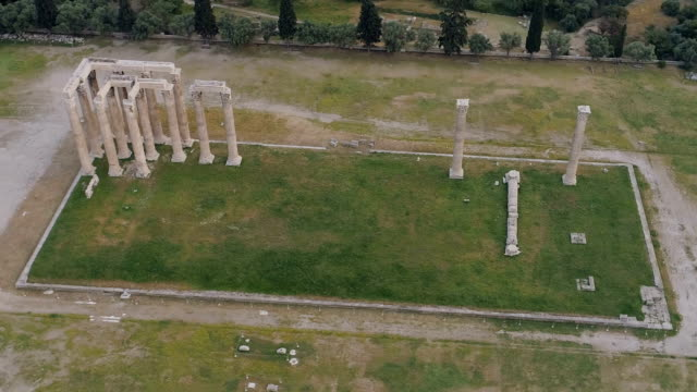 aerial view of Temple of Zeus at Olympia in Athens and modern part of the city video