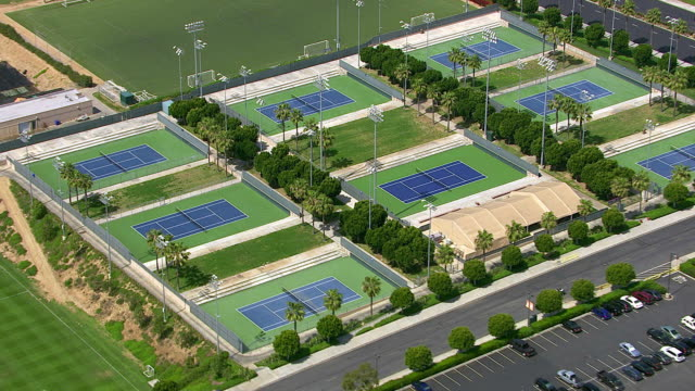 Aerial view of tennis courts video