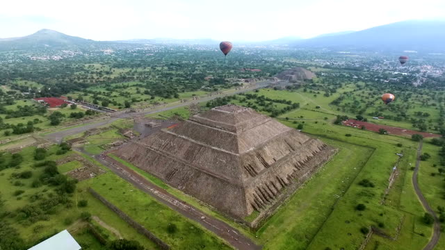 Aerial view of Teotihuacan pyramids in Mexico