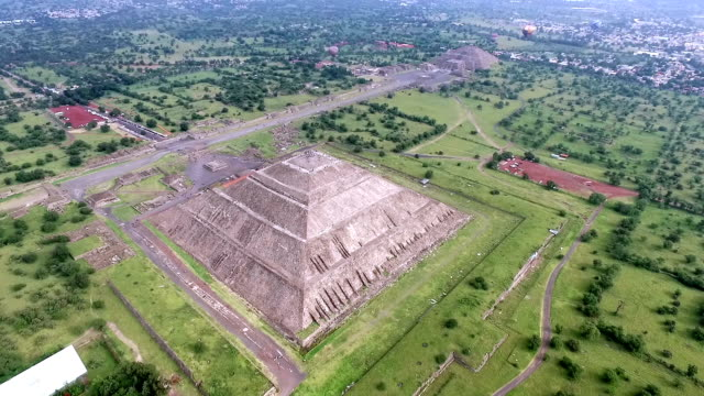Aerial view of Teotihuacan pyramids in Mexico video