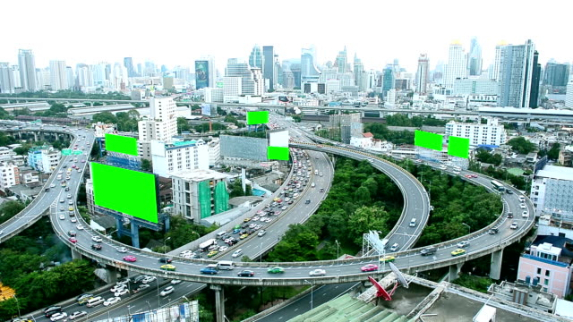 aerial view of thailand city building and busy traffic road with green screen advertising billboards - anonymous hackers stock videos and b-roll footage