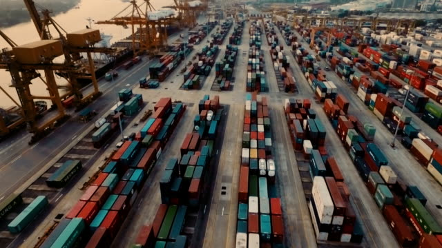 Aerial view of Thailand Container Terminal video