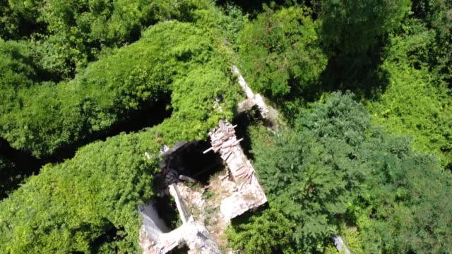 Aerial view of the abandoned village of Faraone Vecchio, Abruzzo