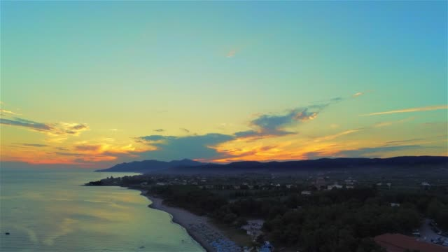 Aerial view of the Agia Paraskevi Beach of Alexandroupolis during sunset at summer video