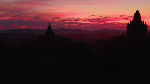 Aerial view of the amazing sunset in Bagan, Myanmar