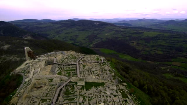 Aerial View of the ancient Thracian city of Perperikon, 6000 BC, Bulgaria video