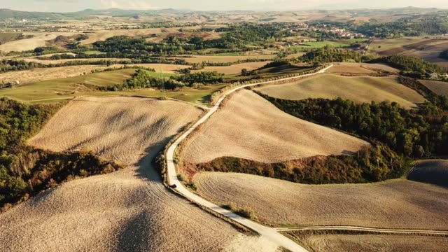 aerial view of the arid tuscany hills