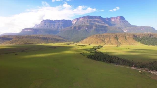 Aerial view of the Auyan tepui table top mountain. La Gran Sabana plain at Kamarata Valley, south of Venezuela.