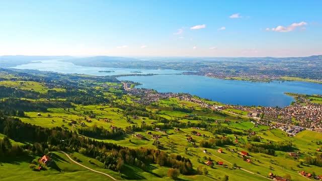 Aerial view of the beautiful natural landscape of Altendorf, Schwyz, Switzerland