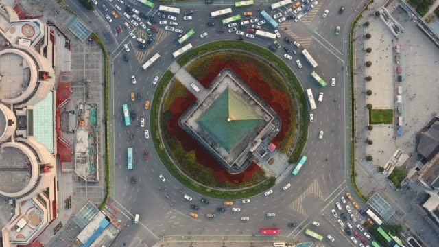 luftaufnahme des glockenturms von xi'an bei sonnenuntergang in china - pagode stock-videos und b-roll-filmmaterial