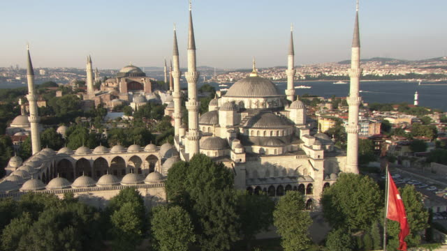 Aerial view of the Blue Mosque (Sultanahmet Camii), Istanbul, Turkey video