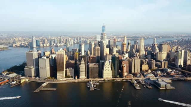 Aerial view of the capital of America, New York. Drone flying over the Manhattan on the shore of the East river video