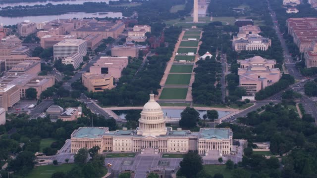Aerial view of the Capitol and National Mall lawn.