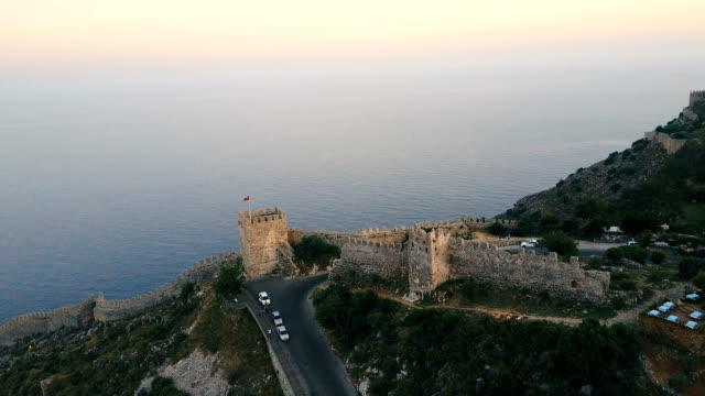 Aerial view of the castle on the hill. Alanya city walls on the hill video