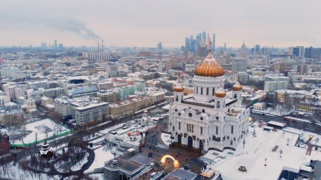 flygbild av katedralen kristus frälsaren, moskva - kreml bildbanksvideor och videomaterial från bakom kulisserna