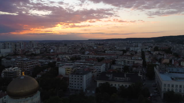 Aerial view of The Cathedral of the Assumption in Varna, Bulgaria. Colorful Sunset.