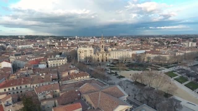 aerial view of the catholic church in nimes - french architecture stock videos & royalty-free footage