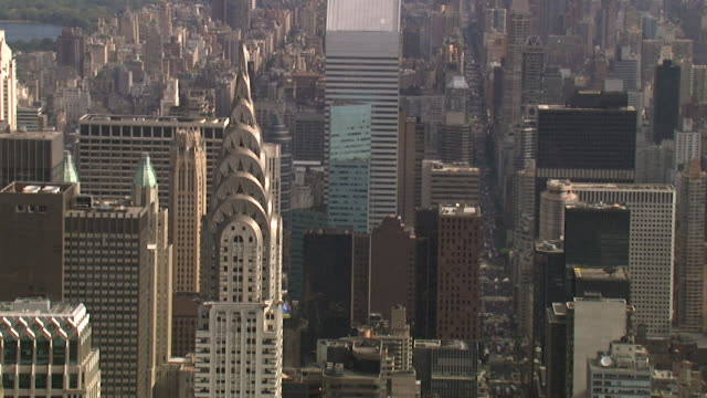 aerial view of the chrysler building, new york, usa - new york architecture stock videos & royalty-free footage