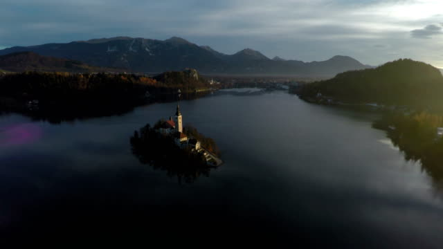aerial view of the church on bled island - ferragosto video stock e b–roll