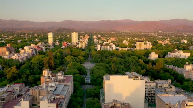 aerial view of the city and mendoza in argentina - argentyna filmów i materiałów b-roll