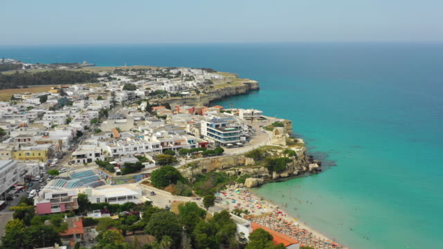 aerial view of the city, beach and the sea - lecce video stock e b–roll