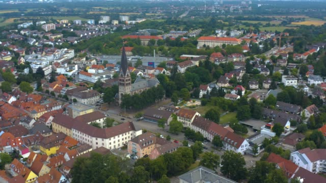 Aerial view of the city Ettlingen in Germany