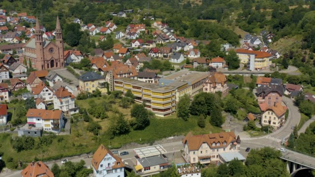 Aerial view of the city Forbach in Germany