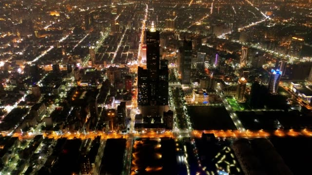 Aerial view of the city in Kaohsiung at night, Taiwan video