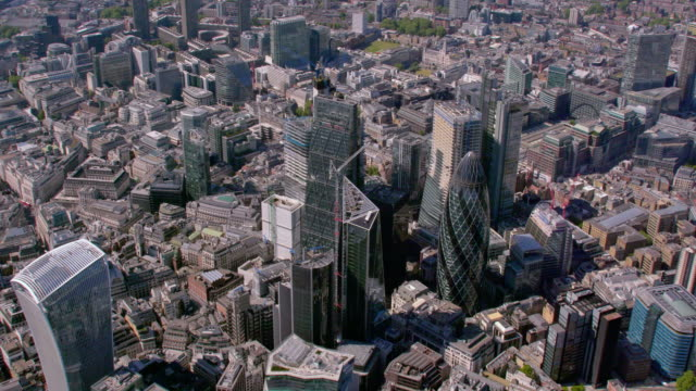 Aerial View of The City, London, UK. 4K