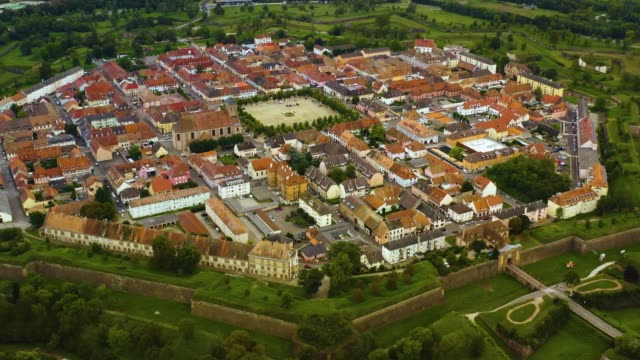 Aerial view of the city Neuf-Brisach in France video