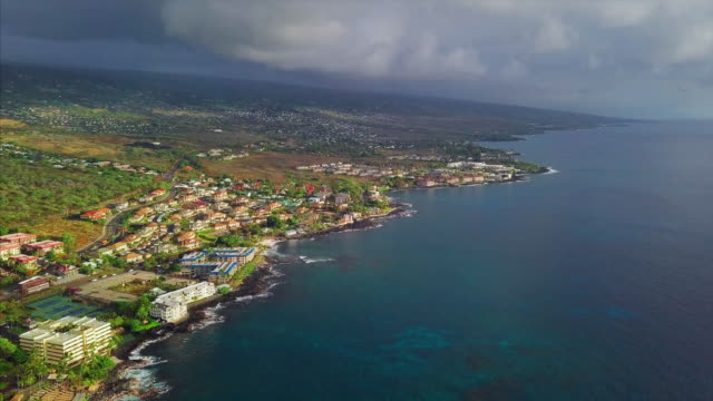 Aerial view of the city of Kailua Kona during sunset Aerial view of the city of Kailua Kona during sunset, Big Island, Hawaii big island hawaii islands stock videos & royalty-free footage