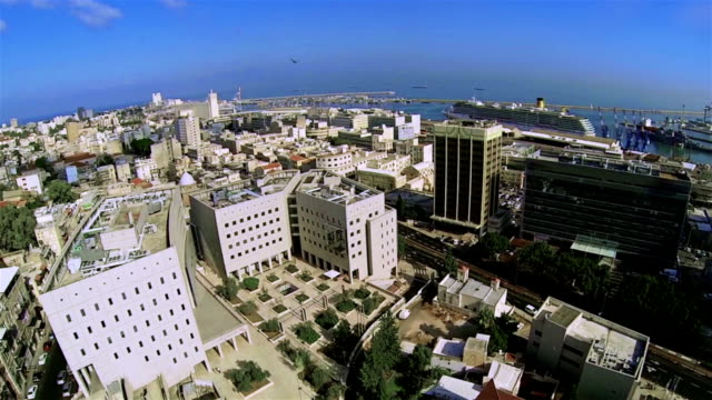 Aerial view of the city port Haifa video