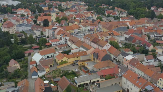 aerial view of the city radeburg in east germany . - barocco video stock e b–roll