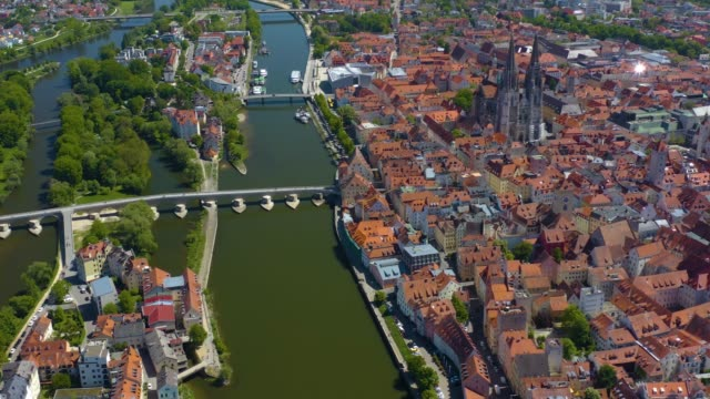 Aerial view of the city Regensburg in Germany