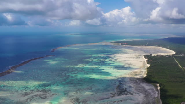 Aerial view of the coast of Zanzibar at low tide, Tanzania, Africa