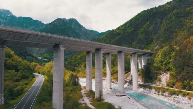 Aerial view of the Concrete Highway Viaduct on Concrete Pillars in the Mountains