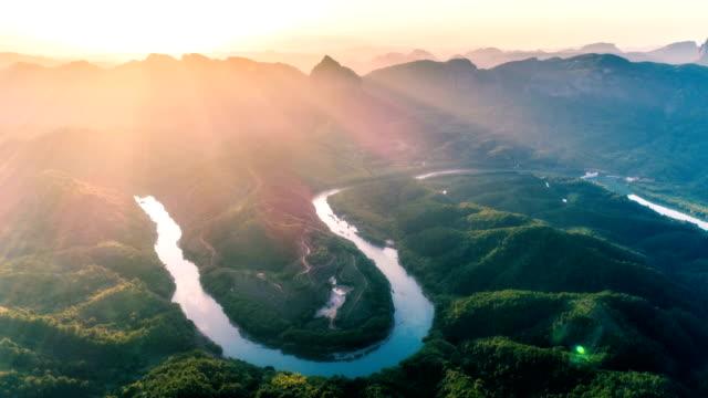 danxia 山 - 時間の経過の航空写真 - 広東省点の映像素材/bロール