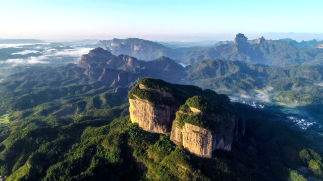 aerial view of the danxia mountain - jungle стоковые видео и кадры b-roll