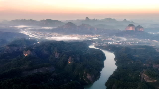 Aerial View Of The Danxia Mountain Aerial View Of The Danxia Mountain country geographic area stock videos & royalty-free footage