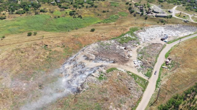 Aerial view of the dump fuming. Environmental problems