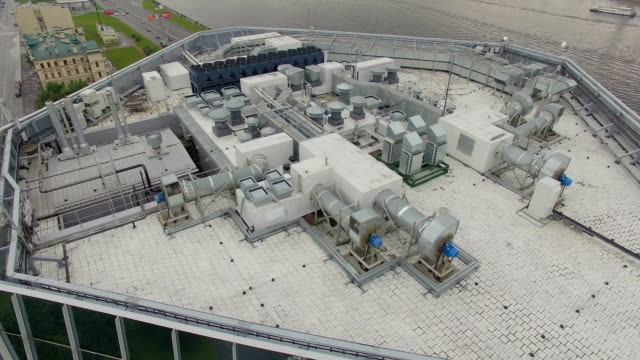Aerial view of the equipment on the roof a modern building video