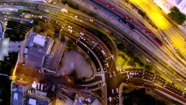 Aerial view of the evening city video