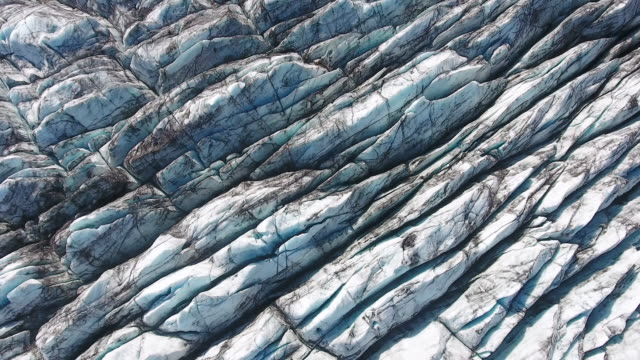 Aerial view of the glacier in Iceland - video