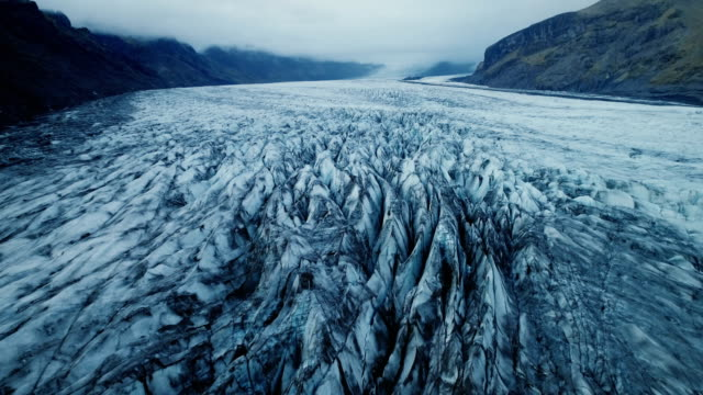 Aerial view of the glacier in Iceland