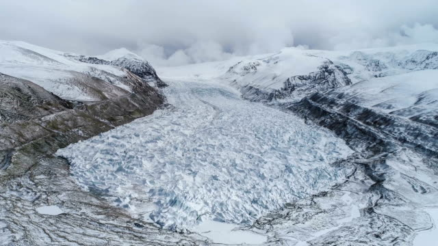 Aerial View Of The Glacier In Tibet