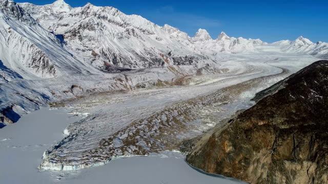 aerial view of the glacier in tibet - antarktyda filmów i materiałów b-roll