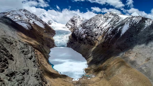 Aerial View Of The Glacier In Tibet Aerial View Of The Glacier In Tibet icecap stock videos & royalty-free footage