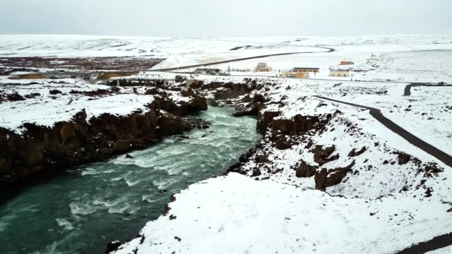 aerial view of the Godafoss waterfalls in iceland video