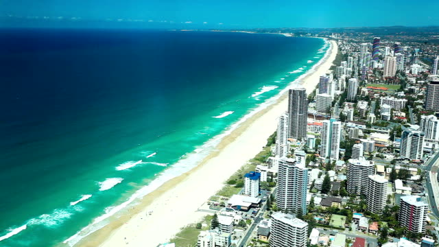 GOLD COAST, AUS - OCT 04 2015: Aerial view of the Gold Coast in Queensland Australia looking from Surfers Paradise down to Coolangatta video