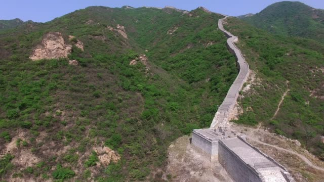 aerial view of the great wall of beijing, china - ming video stock e b–roll